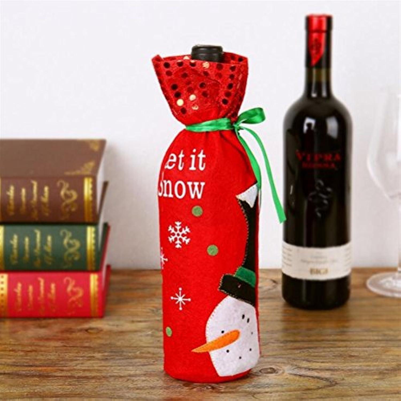 完璧な装飾 クリスマスシャンパンボトルセット赤ワインバッグクリスマスワインボトルデコレーション(雪だるま)