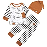 JELLYKIDS Feather Baby Boy Clothing Newborn Infant Boy Long Sleeve Top + Trousers + Hat Outfits Set