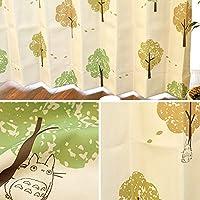 【2300サイズ以上×15デザイン&カラーから選べる!】 カーテン ジブリ 遮光3級 形状記憶 洗える 日本製 セミオーダー イージーオーダー 「くすの木と風」 アイボリー Bフック 幅130cm × 丈155cm 1枚単品 【受注生産品】