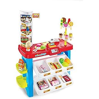 59c51314be0703 HJXDJP-子供の知育玩具 ままごと遊びをするおもちゃ シミュレーション多機能スーパーマーケットのレジカウンター アウトドアデザート屋  アナログショッピングや支払い ...