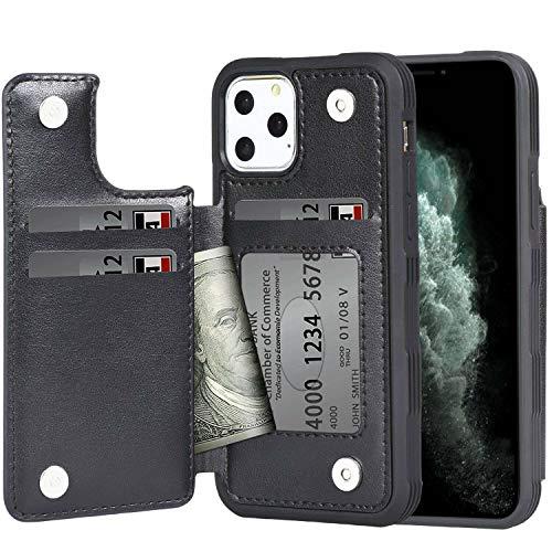 iPhone 11 Pro Max ケース 手帳型 ワイヤレス充電対応 米軍軍事規格 スマホケース iPhone 11 Pro Max カバー Arae カード収納 ポケット付き アイフォン 11 プロ マックス 2019新型 6.5インチ 対応用 財布型 ケース (ブラック)