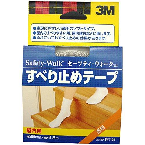 3M セーフティウォーク すべり止めテープ 屋内用 25mm×4.5m 透明 SWT-25