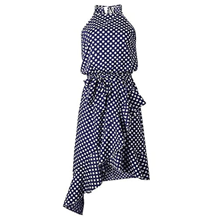 灰ピンクのホストOnderroa - 夏のドレスの女性の新しいファッションホルターポルカドットプリントカジュアルドレスレディースフリルエレガントなドレス