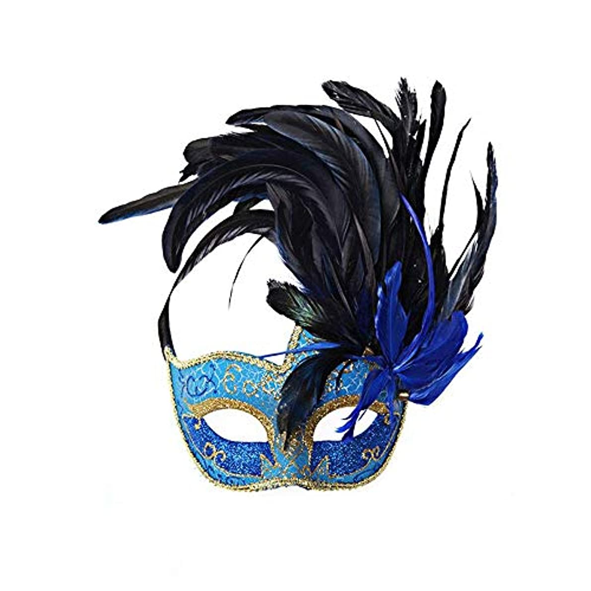 静かに食物隠されたNanle ハロウィンマスクハーフフェザーマスクベニスプリンセスマスク美容レース仮面ライダーコスプレ (色 : Style A blue)