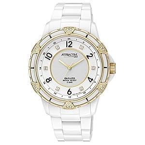 [シチズン キューアンドキュー]CITIZEN Q&Q 腕時計 ATTRACTIVE プラスチックベルト 逆輸入 海外モデル ゴールド ホワイト DA57J002Y