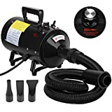 Voilamart 2800W Pet Grooming Hairdryer Variable Speed Dog Hair Dryer Blaster Fur Blower with 2 Gear Temperature and Flexible Hose, Black