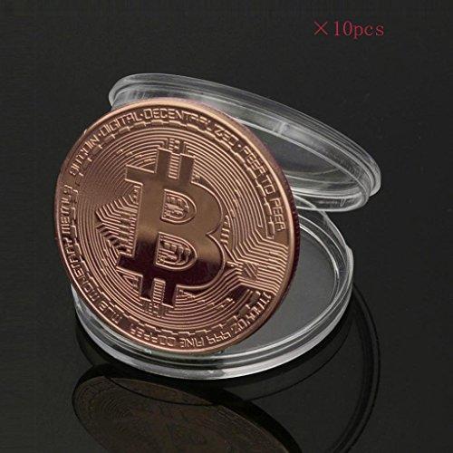 ビットコイン Bitcoin Collectible ギフト バーチャル レプリカ 仮想 通貨 コイン グッズ アートコレク メッキ ライトコイン 記念硬貨 コレクション 十枚入り (銅色)