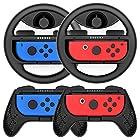 Joy-Con ハンドル ジョイコングリップ  Switch対応 マリオカート Y044(黒 /4点セット) Momen®