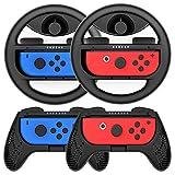 Joy-Con ハンドル ジョイコングリップ Nintendo Switch対応 マリオカート Y044(黒 /4点セット) Momen®