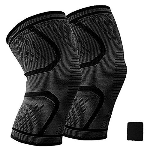 膝サポーター ( 2個セット)加圧式膝サポート 膝固定 関節 靭帯 サポート ランニング バスケ 登山アウトドアスポーツ 怪我防止 通気性 伸縮性 3サイズ & 汗取り用タオル型の手首当て 一年保証付き (L (42-47cm))