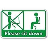 座りション トイレステッカー 立たないでジョ~!! 立ちション禁止 マナー 座って シール トイレ ステッカー(グリーン)*