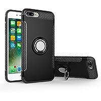 S.C.I iPhone8 ケース / iPhone7 ケース リング付き 衝撃防止 スタンド機能 車載ホルダー対応 アイフォン8 / 7 ケース 落下防止 軽量 薄型 携帯カバー (iPhone8 / iPhone7, ブラック)
