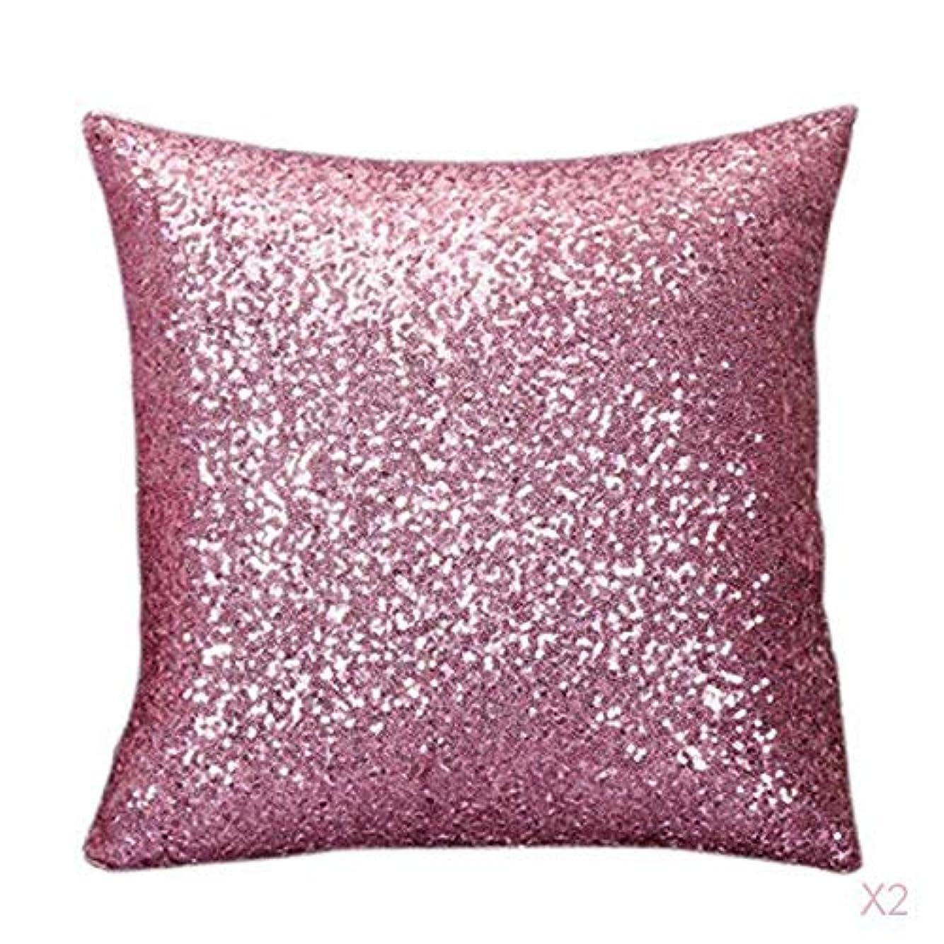 コントラストロードされた家具ファンシースパンコールソファスクエア枕クッションカバーケースは、ホームインテリアピンクを投げます