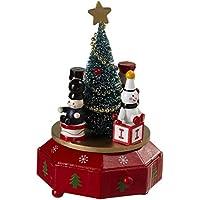 Christmas Tree Rotating 13cm x 18cm Wood Music Box Plays Jingle Bells