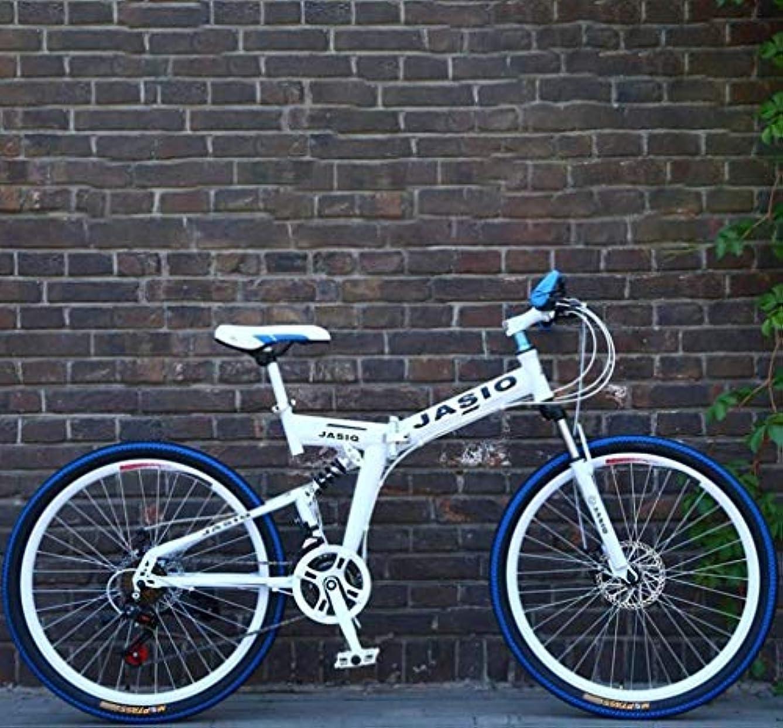 誓い集中立方体折りたたみ式大人用マウンテンバイク、スチューデントシティロードレーシング自転車、10代のダブルディスクブレーキバイク、26インチホイール、メンズレディース汎用