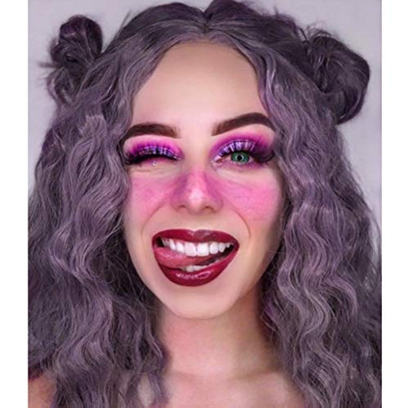 精通したホイッスル演じる女性フロントレースかつら耐熱合成実体波髪かつらナチュラルブラジルのかつら紫色14インチ