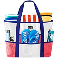 SoHo Collection, Mesh Beach Bag - Toy Tote Bag - Large Lightweight Market, Grocery & Picnic Tote with Oversized Pockets (Americana)