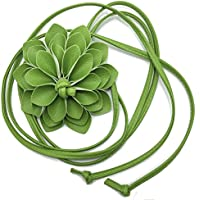 Elegant Women Girls Leather Sunflower Waist Chain/Performance Decorative Belt Waist Line (Green)