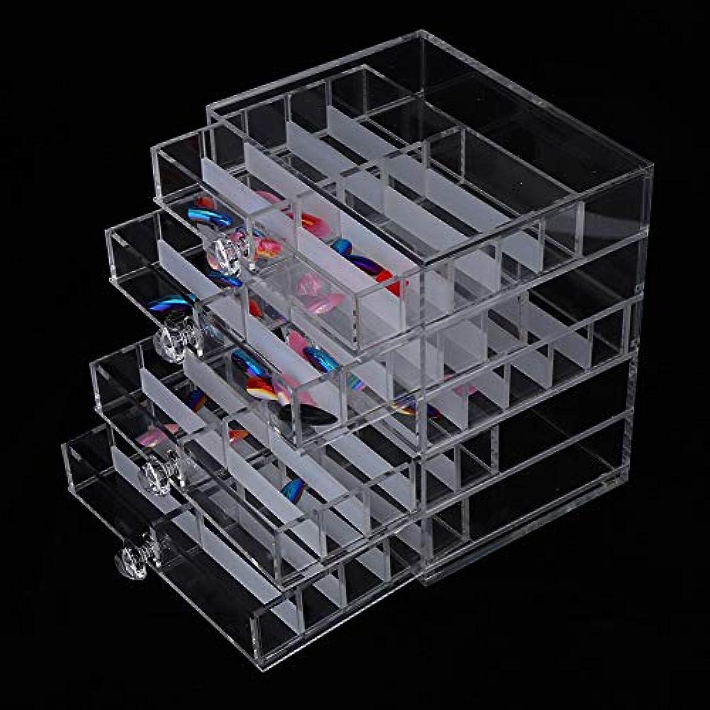 ペインティング大洪水キャンベラアクリルネイルチップ収納ボックス 引き出し付き 透明偽ネイルチップ空 ネイルアートツール収納コンテナボードディスプレイボックス