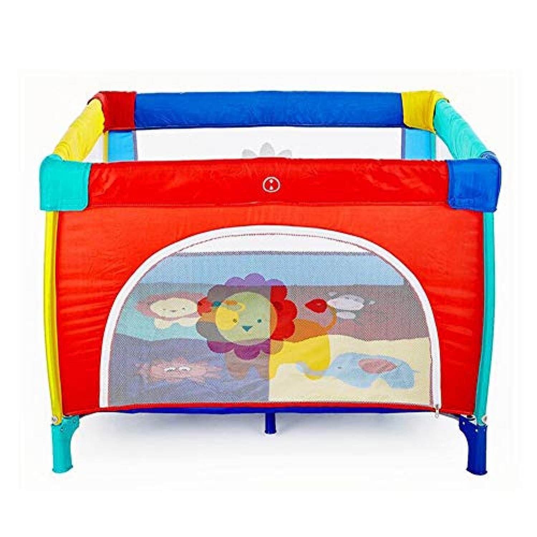 ベビーサークル 赤ちゃんの遊び場の子供のゲームフェンスの折りたたみベッド幼児のフェンス世帯のクロールマットとボールと蚊帳 (色 : 100x100cm)