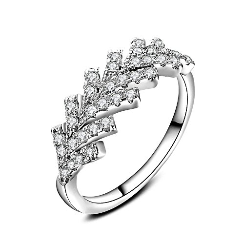 [해외]Skyllc 패션 보석 화이트 골드 도금 신선한 깃털 디자인 여성의 반지/Skyllc Fashion Jewelry White Gold Plating Fresh Feather Design Female Ring