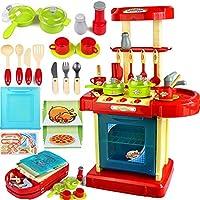 子供たちは携帯用収納ボックスの照明効果音で台所用品セット教育玩具をふり,赤