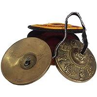 YNAK チベット密教 ティンシャ (チベタンベル) 八吉祥 文様 六字大明呪 刻印 6.6cm 手作り 専用ケース付 ネパール製