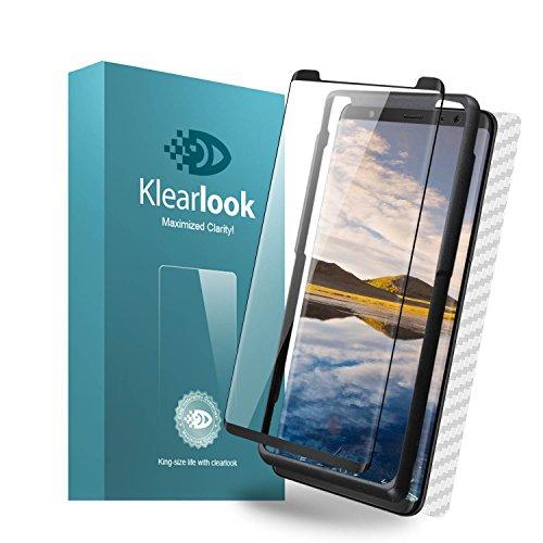 Klearlook Samsung Galaxy Note 8用強化ガラスフィルム 「ケースに干渉せず・透過率99%」 タッチ感度良好 S-PENに対応 (ガラス液晶面1枚+カーボン繊維背面1枚+貼付け易い道具1枚)