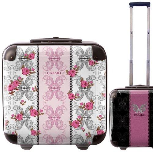 ピンクフラワースーツケース/キャラート/アートスーツケース/ベーシック/クイーン/ジッパー式/2輪/国内旅行/機内持込可能/薔薇/バラ/ローズ/パープル/CRB01-J00042-3