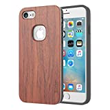 Slicoo iPhone 7 ケース 木 天然木ケース ウッドケース 自然シリーズカバー 優しい感じさ 精密なデザイン 丈夫な素材 耐衝撃 全面保護 取り外し・スムーズ 上品な光沢と木目調が美しい♪ 「一生保証」 iPhone 7対応(Rose wood )