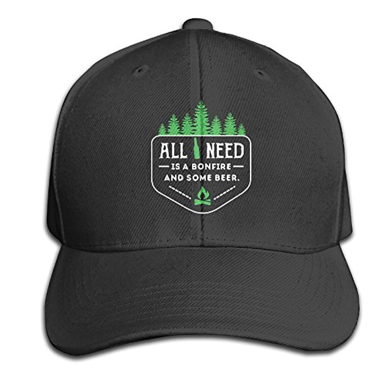 ふつう冒険一次Camping All I Need Is Bonfire And Beer 調節可能な野球帽 非構造ダッドハット 100%コットン ブラック