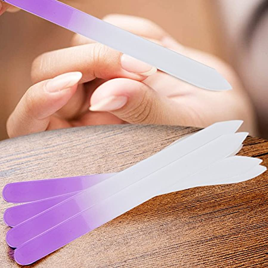 放棄された減衰不調和Demiawaking 爪ヤスリ ガラスネイルファイル 両面 爪やすり 爪磨き ネイルケア マニキュアファイル 4個組