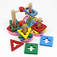 Goodgoods 木製 知育玩具 ちょうちょう 幾何認識 カラフル 積み木 子どもおもちゃ 教育 013-lzgy-d-123(20*18*14.5cm 約780g)