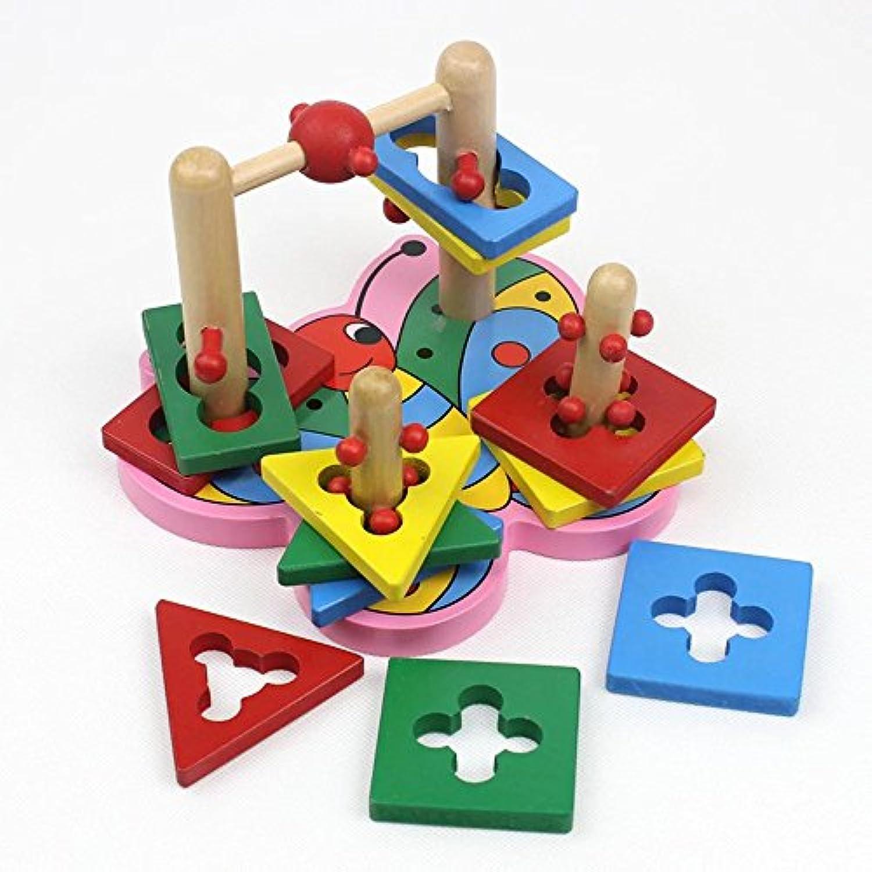 Kayiyasu カイヤス 木製 知育玩具 ちょうちょう 幾何認識 カラフル 積み木 子どもおもちゃ カラフル 教育 021-lzgy-d-123(20*18*14.5cm 約780g )