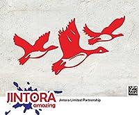 JINTORA ステッカー/カーステッカー - Flying Ducks - フライングダック - 149x80mm - JDM/Die cut - 車/ウィンドウ/ラップトップ/ウィンドウ- 赤