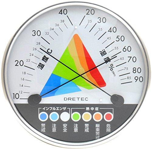 ドリテック 熱中症・インフルエンザ警告温湿度計 O-311W...