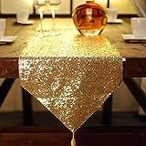 QY テーブルランナーゴールドハイエンドのゴールドとシルバーのスパンコールテーブルランナー、スパンコールのテーブルクロス、スパンコールのテーブルクロス、スパンコールのリネン (Color : Gold, Size : 32*200CM)