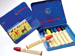 Stockmar(シュトックマー社) 蜜蝋(みつろう)クレヨン8色缶入り スティックタイプ 基本色
