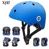 XJD 自転車 ヘルメット こども用 キッズプロテクターセット S:48~54cm 調節可能 超軽量 高剛性 通気性 自転車 サイクリング 保護用 巾着袋付き(ブルー)