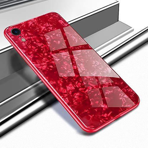 ケースIphone XR、強化ガラス キラキラの液体貝殻 T...