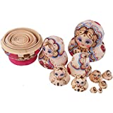 Dolity Hand Painted Wooden Babushka Dolls 10pcs Classical Russian Doll Home Decor