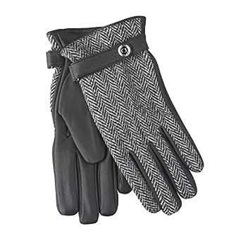 DENTS / デンツ レザー・グローブ 皮製手袋 ハリスツイード・ディアスキン 鹿皮 - ブラック 15-1597 - S