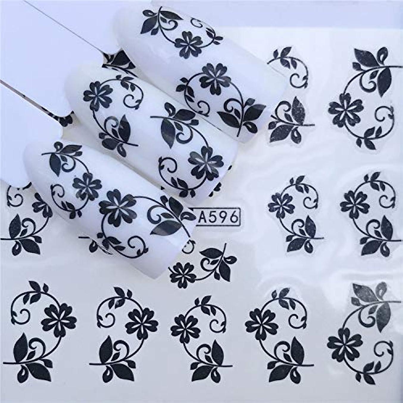 Yan 3個ネイルステッカーセットデカール水転写スライダーネイルアートデコレーション、色:YZWA 596