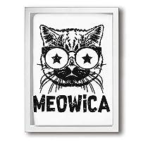 King Duck 猫 星 眼鏡 単語 絵画 インテリア フレーム装飾画 アートポスター 壁画 アートパネル 壁掛け 木枠付き White