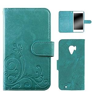 whitenuts らくらくスマートフォン3 F-06F ケース 手帳型 エンボスデザイン ターコイズ/百合 カード収納 ストラップホール スタンド機能 WN-OD282571-ML