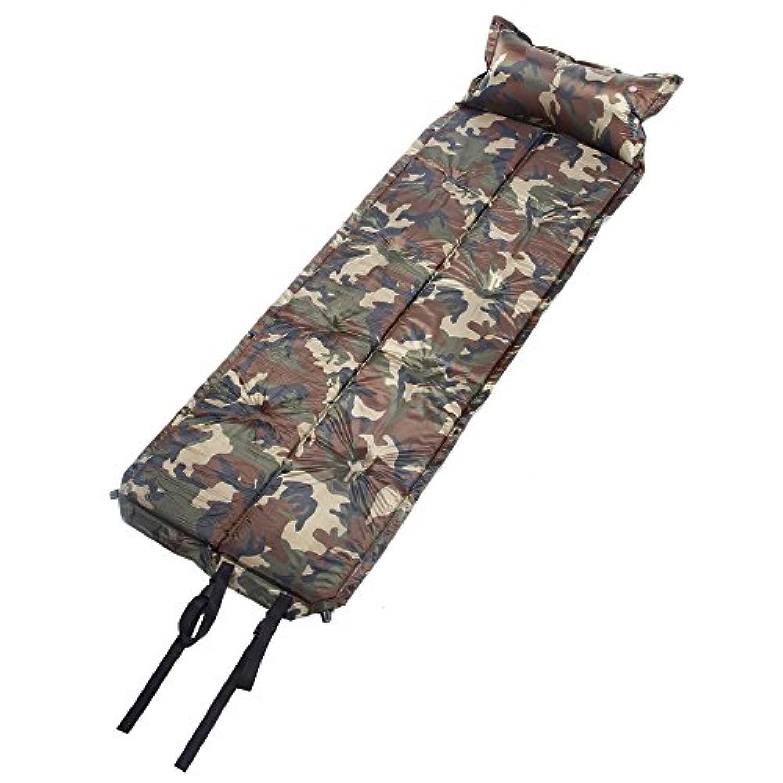 Lixada 185 * 60 * 2.5cm 迷彩 インフレータブル 自動膨張式/連結可能 防湿スリーピングパッド エアーマット 枕搭載 【アウトドア?キャンプ】
