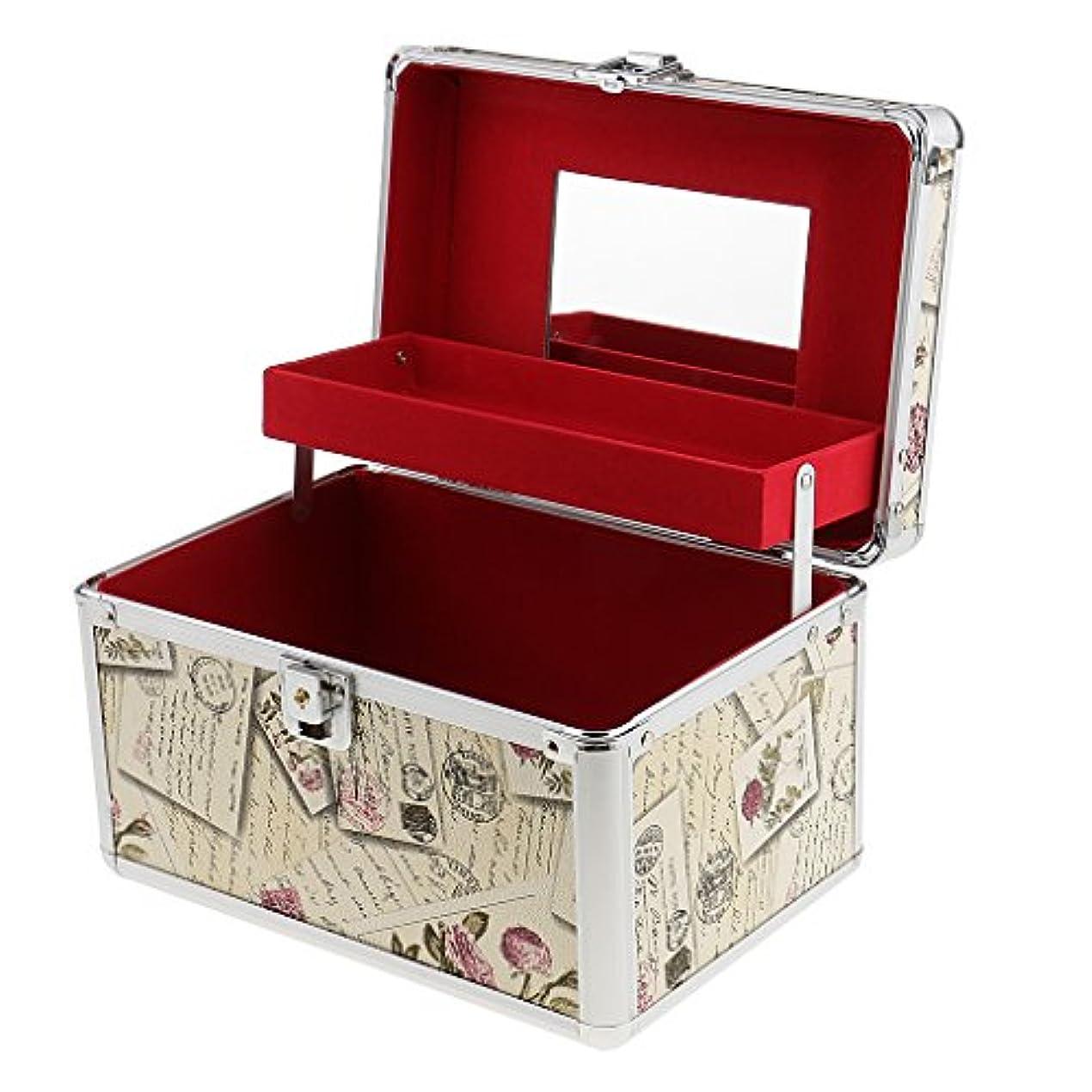 マラウイ商標アルカイック大容量 メイクボックス アルミ 二層 化粧品 オーガナイザー 収納ケース 鏡付き