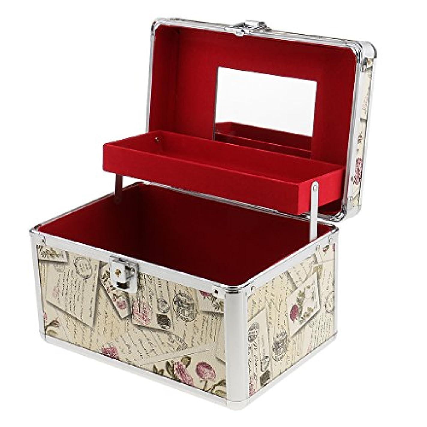 ハイランド初期分割大容量 メイクボックス アルミ 二層 化粧品 オーガナイザー 収納ケース 鏡付き