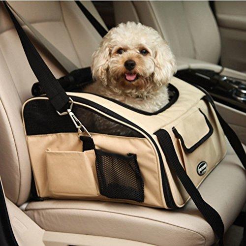 Pettom ペット ドライブボックス 犬 かーシート スリング 手提げ ペットキャリー 折りたたみ 飛び出し防止フック付き 小型犬 中型犬 ドライブ お出かけ用品 (ベージュ)