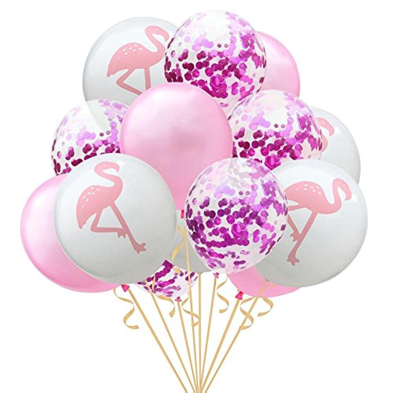 ビュラリー(Bulary) 誕生日 飾り付け 15点セット 12インチ フラミンゴ パイナップル タートル葉 ラテックス バルーン パーティー 誕生日 結婚式 飾り物